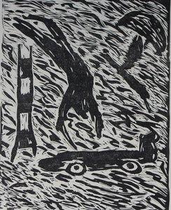 Peter Capiteijns - Rock on Wood serie 2 - 72 x 52 cm - Lithografie op dun Japans papier