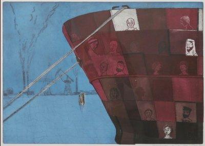 Jan Willem Kwinkelenberg - Boegbeelden - 76 x 98 cm - Gemengde druktechnieken op papier - in houten lijst