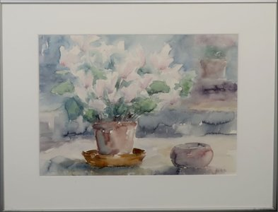 Anneke Witte - zonder titel II - Aquarel op papier - 51 x 66 cm - in aluminium lijst