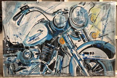 Eric Jan Kremer - Harley Davidson - 150 x 100 cm - Acrylverf op doek