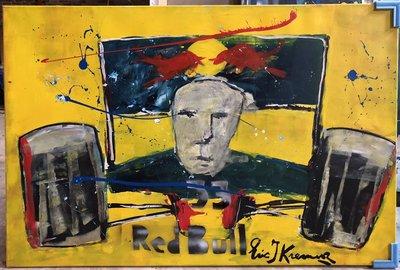 Eric Jan Kremer - Max Verstappen Red Bull (geel) - 150 x 100 cm - Acrylverf op doek