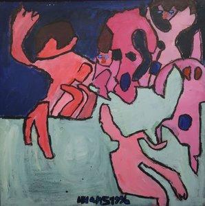 Hans Hartman- zonder titel - 100 x 100 cm - Acrylverf op doek - op spieraam