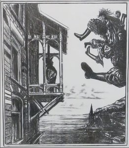 Bernard Verhoeven - Oproep, 2 dagen in de hemel - 57,5 cm x 48 cm - Litho op papier - in houten lijst