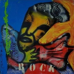 Fabian - Rock It - 80 cm x 80 cm x 4 cm - acrylverf en diverse technieken