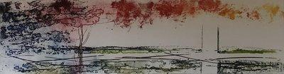 Olivier Beijn - Park I - 105 x 56 cm - ets op papier - luxe ingelijst