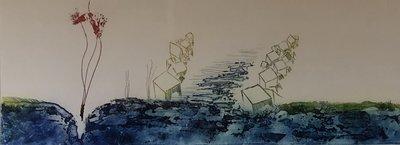 Olivier Beijn - Haven III - 85 x 55 cm - ets op papier - luxe ingelijst