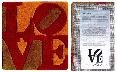 Robert Indiana - Fall LOVE - 38 x 38 cm - Mixed media, handgeknoopt wol