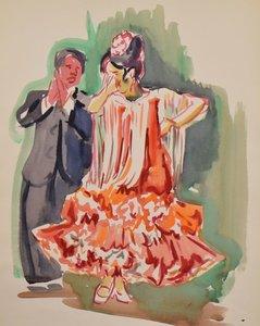 Freek van den Berg - Spaans danspaar - 56 x 38 cm - Aquarel