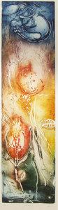 Ad Arma - Sudden Clouds -  Ets op papier - 147 x 52 cm -  Luxe aluminium ingelijst