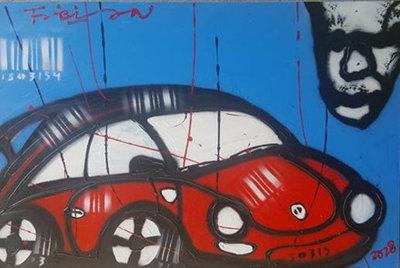 Fabian - My Car - 120 cm x 80 cm - acrylverf op katoen
