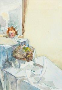 Iris le Rütte - Stilleven - 97,5 x 70,5 cm - Aquarel op papier - Aluminium ingelijst