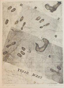 Peter Daniels - Texas Dust - 46 x 35 cm - Ets op board en passe-partout