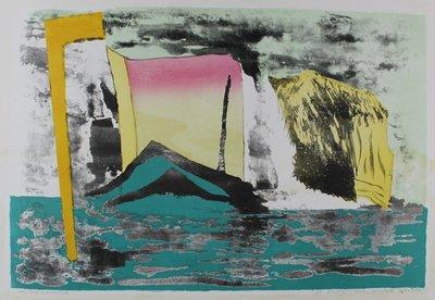 Gé van Kesteren - Achtervolging - 58 x 86 cm - 7-Kleuren steendruk op papier