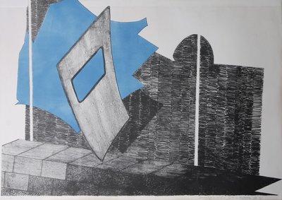 Gé van Kesteren - Beweging in triplo - 60 x 82 cm - Kleuren steendruk op papier