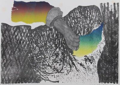 Gé van Kesteren - Handen III - 55 x 75 cm - Kleuren steendruk/ Irisdruk op papier