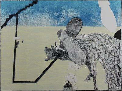 Gé van Kesteren - Niet opgeven - 60 x 80 cm - Kleuren steendruk op papier