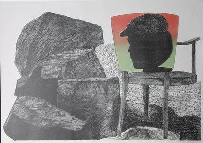Gé van Kesteren - Verweer 2 - 57 x 84 cm - Steendruk/Irisdruk op papier