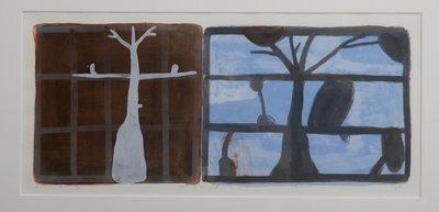 Piet Warffemius - Droomtuin II - 51 x 81 cm - Zeefdruk op papier - in aluminium lijst