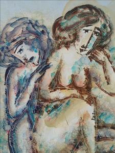 Calvin Burnett - Zonder titel - 60 x 50 cm - Acrylverf op doek