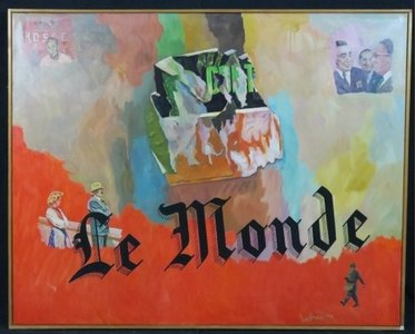 Jan van Holthe - Le Monde - 82 x 101,5 cm - olieverf op doek - in houten lijst