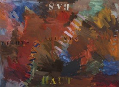 Jan van Holthe - Uit de Merde serie: Links Rechts - 54,5 x 74 cm - Gouache op papier