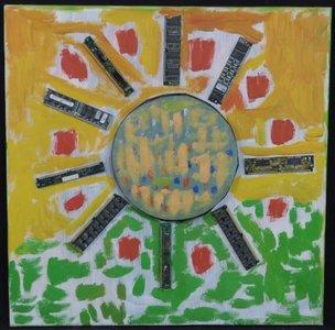 Meertje Kaal - zonder titel - 50 x 50 cm - Olieverf en collage op doek - in houten lijst