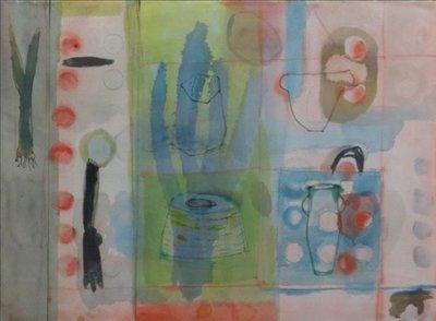 Joke Konijn - Stil leven - 71 x 89,5 cm - Aquarel op geschept papier - in houten lijst